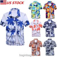 Men's Hawaiian Shirt Summer Floral Printed Beach Shorts Sleeve Tops Blouse US