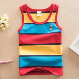Sleeveless Shirt Vests Girls Boys Stripes Top T-shirt Random Cartoon Character