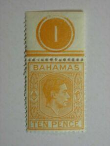 "BAHAMAS 1946 10d YELLOW ORANGE ""CONTROL"" FINE MNH SG154c"