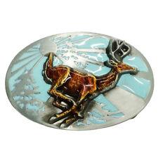 Vintage Western Belt Buckle Enameled Deer Rodeo Hunting Elk Animal Casual