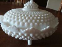 FENTON WHITE MILK GLASS HOBNAIL FOOTED OVAL DISH W/COVER 7 IN
