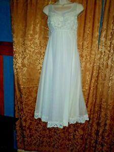 Vtg. Shadowline Nightgown Peignoir Chiffon Lace White Petite Small