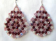 """Miranda""  Amethyst Swarovski Crystal Dangle Earrings Handmade. One of a Kind"