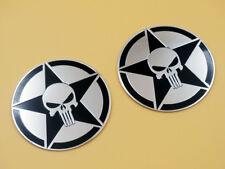 "2X 3"" Star Skulls Oil Tank Badge Fairing Emblem Decals Motorcycle Bikes Custom"