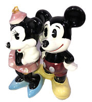 Enesco Walt Disney Productions Mickey & Minnie Mouse Figurines Vtg Japan Preown