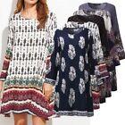 ZANZEA AU 8-24 Women Vintage Long Sleeve Floral Plus Size Boho Club Party Dress