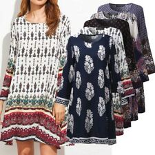 ZANZEA AU 8-24 Women Vintage Long Sleeve Floral Plus Size Boho Club Party Dress