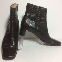 Salvatore Ferragamo Croc Embossed Black Ankle Zipper Boots/Booties Size 9.5 2A