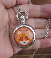 silver tone fox art necklace pendant pocket watch long chain vintage