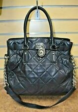*Michael Kors Hamilton Quilted Black Leather Tote Shoulder Bag Pre Owned