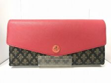 Auth PATRICK COX Pink Black Gold Leather Long Wallet