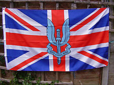 SPECIAL AIR SERVICE - SAS Famous Winged Dagger Beret Badge On Union Jack UK Flag