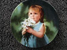 "Pemberton Oakes Zolan ""For You"" Girl White Daisies Miniature Collector Plate"
