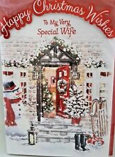 WIFE CHRISTMAS CARD ~ TRADITIONAL DESIGN QUALITY CARD & NICE VERSE LARGE SIZE