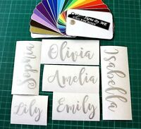 2x Personalised Stickers Custom Names Decals Adhesive Wine Glass Gift Card SLVER