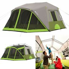 Bright Natural Light 9-Person Instant Cabin Tent w/ Screen Room Outdoor Camping