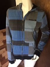 Mens Hurley Zipper Hoodie Sweatshirt Blue Plaid Thermal Lined Size L