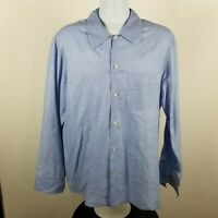 Pal Zileri Gruppo Forall Mens Light Blue Geometric Dress Button Shirt Sz XL
