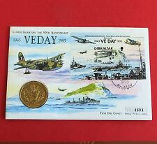 GIBRALTAR 1995 VE DAY £5 VIRENIUM PROOF - coin cover