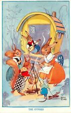 "Vintage Postcard A/S Rene Cloke Dressed Animals ""The Gypsies"" Wagon & Cookfire"