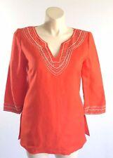 Jessica Howard women L 10 orange white embroider bead Linen tunic shirt top NWOT