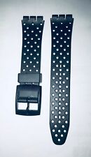 Replacement 17mm (20mm) Watch Strap for SWATCH - Black with holes