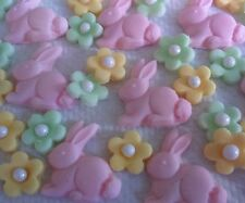 42 EDIBLE BUNNIES SUGAR FLOWER  Cake toppers, cupcakes, Easter Baby shower