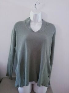 Vintage 80s Fitigues L/S Olive Drab Green Waffle Weave Thermal Top Sz Medium +