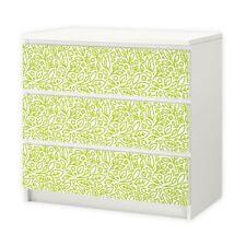 nikima - 001 Möbelfolie für IKEA MALM - Floral Blätter  - 3 Schubladen Aufkleber