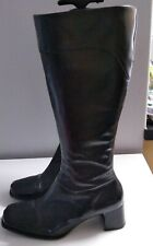 Fiore Black  leather Knee Boots Size 6 Block Heel  Ladies Womens