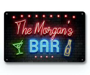 Personalised Bar Sign - Neon effect 80's cocktail, Metal Wall A4 home Bar Sign