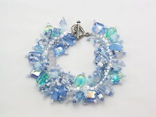 """Bracelet Bead Kit:""""Dreaming""""Soft blues, white & green beads. Fringe Magic"""