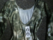 women girls olive green/taupe bodycon min cotton dress size 6 uk