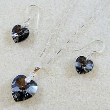 Sterling Silver Necklace Set Silver NT Heart Pendant Swarovski Elements Crystal