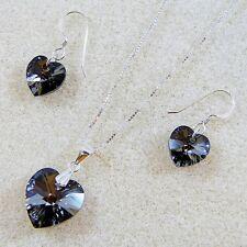 Collier En Argent Fin Set Argent NT Pendentif Coeur éléments cristal Swarovski