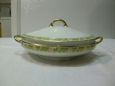 Vintage Pope Gosser Round Covered Vegetable Dish- White Flower on The Vine