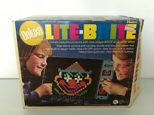 VINTAGE 1971 DELUXE LITE BRITE HASBRO TOY IN ORIGINAL BOX SHEETS ARE USED WORKS