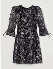 H&M Vampires Wife Silver Black Lace Mini Dress Size10