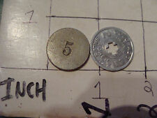 vintage 2 tokens - one w a 5, other Colorado Retail sales tax token #2