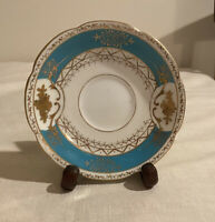 VINTAGE UCAGCO CHINA SAUCER, MADE IN OCCUPIED JAPAN, TURQUOISE, GOLD TRIM