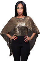 New Ladies Black Gold Sequins Cape Top size UK 8-10