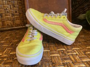 VANS OLD SKOOL NEON YELLOW WHITE YOUTH SHOES SIZE 1.5 Pre-Loved