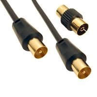 3m LONG RF Fly Lead Coaxial Aerial Cable TV Male to M Extension GOLD BLACK