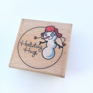 Hampton Art Stamps Mounted Rubber Stamp NEW Holiday Hugs Snowman Xmas