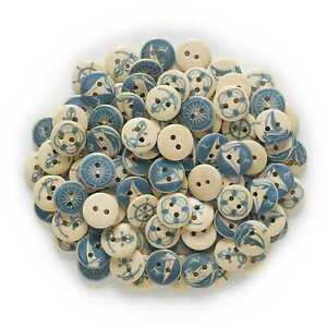 50pcs Navigation Pattern Wood Buttons for Sewing Scrapbooking Cloth Home Decor