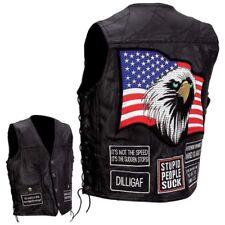NWT Mens Black Leather Bike Motorcycle Vest Concealed Gun Eagle USA M MEDIUM