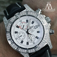 Breitling Super Avenger White A13370 Diamond Authentic Watch with Leather Strap