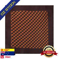 Mens Wedding Pocket Square Brown Orange Check Working Hanky Epoint EEHC0029