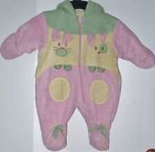 BABY BELL Size 3 Months Pink Yellow Fleece Footed Hooded Long Sleeve Snowsuit