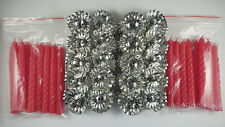 20 Metal Silver Clip On Candle Holders & 20 Red Spiral Candles Christmas Tree